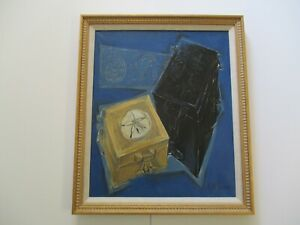 MID CENTURY MODERN PAINTING ABSTRACT EXPRESSIONISM CUBIST CUBISM STILL LIFE RARE