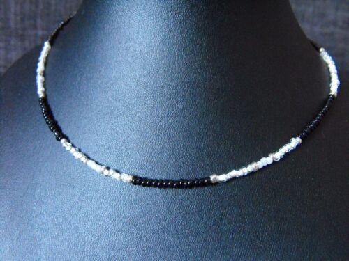 """collar con cuentas de vidrio de 22/"""" Collar Gargantilla Negro Y Blanco Perla De Cristal Semilla 14/"""""""