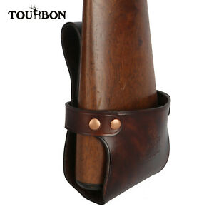 Tourbon-Vintage-Cow-Leather-Rifle-Shotgun-Holster-Long-Gun-Butt-Belt-Rest-Pouch