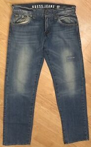 Guess-Los-Angeles-Mens-Jeans-Denim-Rebel-Straight-Leg-Whiskered-Size-30