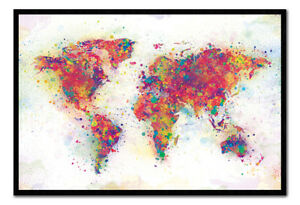 World map colour splash poster magnetic notice board inc magnets ebay image is loading world map colour splash poster magnetic notice board gumiabroncs Choice Image