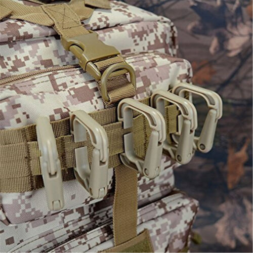 Pack of 10 Multipurpose D-Ring Locking Hanging Hook Tactical Link Snap Keychain