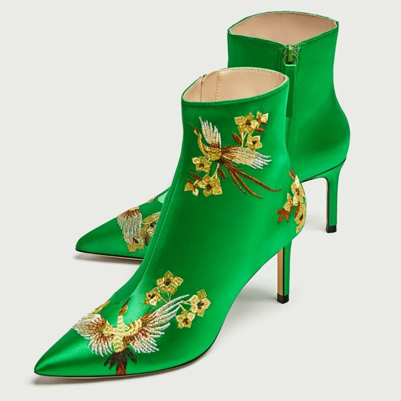 Zara Green Embroidered Boots Satin High Heel Ankle Boots Embroidered