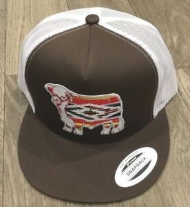 8347b1f4b Details about Lazy J Brown and White Serape Hereford Patch Cap Rodeo  Trucker Mesh