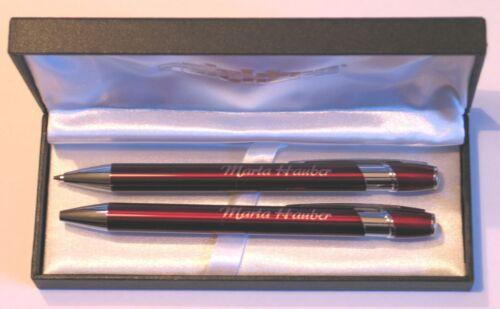 ,Lasergravur,Wunschgravur,Metall Schreibset, rot Schreibset mit Gravur Metall