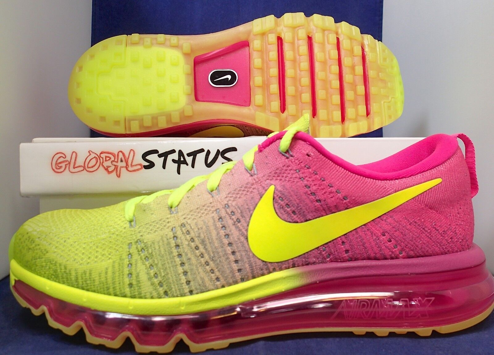 uk availability a69d2 2368c Nike ID Flyknit Air Max Volt rosa zapatillas zapatillas zapatillas 845615  992 Hombre 9,5
