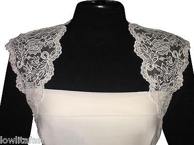 Womens Ivory/White Lace Bridal Bolero/Shrug/Jacket Size 8 to18 by Lowlita Design