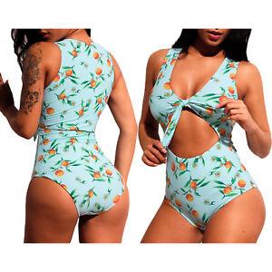 da5a508f352a Detalles de Traje de baño cintura alta una pieza de corte recto con  estampado de limón mujer