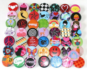 50-x-POP-FUN-FASHION-KIDS-PARTY-BADGES-32mm-Assorted-Mixed-Buttons-Pins-Lot
