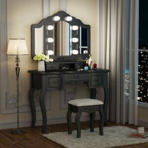 Details about Vintage Dressing Table Lighted Mirror & Stool Set Vanity  Makeup Bedroom Dresser