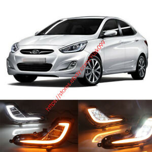 Pair DRL Daytime Running Driving Light Lamp  For Hyundai Accent  12-13-14-15