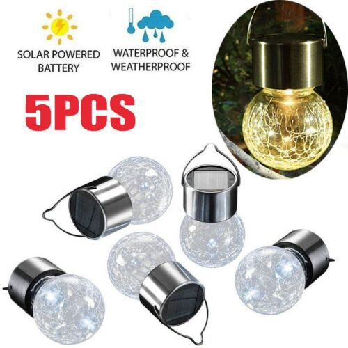 5er Edelstahl Solar Hänge lampe leuchten Glasleuchten Hängeleuchte Glasleuchten