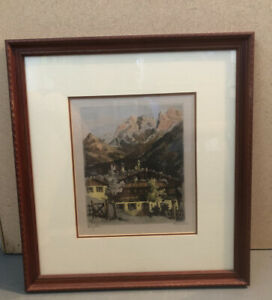 Vintage Lithograph Etching Print On Silk Signed H Leisch Professionally Framed