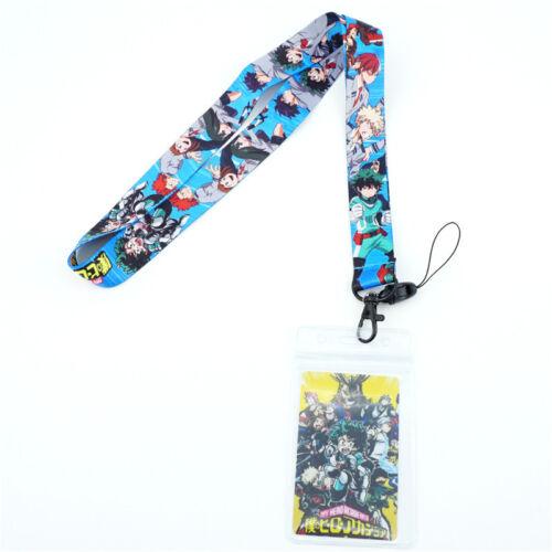 My Hero Academia Neck Straps Lanyard Mobile Phone Rope Keychain+Card CosplayGift