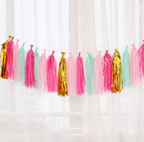 20Pcs Tissue Tassels Paper Garland Bunting Wedding Birthday Party Balloon Decor