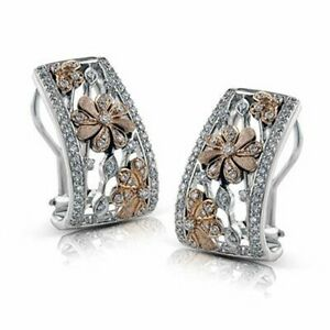 Two-Tone-Stud-Earrings-for-Women-925-Silver-Jewelry-White-Sapphire-A-Pair-set