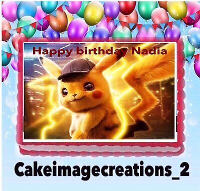 Pokemon Pokken Birthday Image pikachu edible cake topper 1//4 frosting sheet