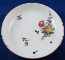Antique 18thC Meissen Porcelain Purple Ground Floral Saucer Porzellan Untertasse
