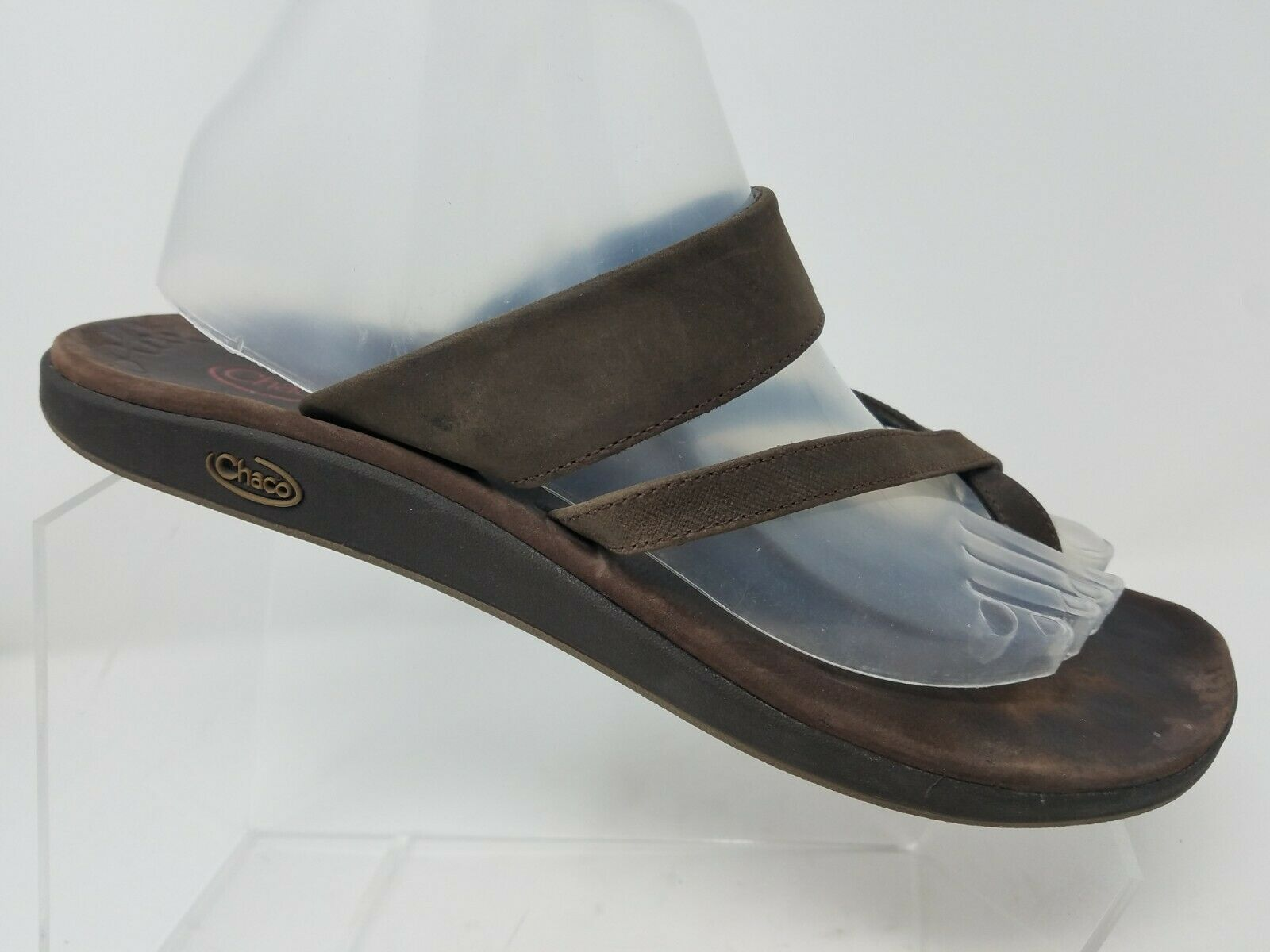 Chaco Womens Toe Ring Sandal Size 10 Brown Leather Comfort Thong Flip Flop