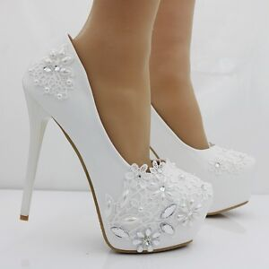 Image Is Loading Women 039 S White Rhinestone Platform Pumps High