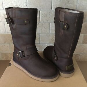 efc9e15b7cc Details about UGG SUTTER TOAST BROWN WATER-RESISTANT LEATHER BUCKLE SHORT  BOOTS SIZE 7 WOMENS