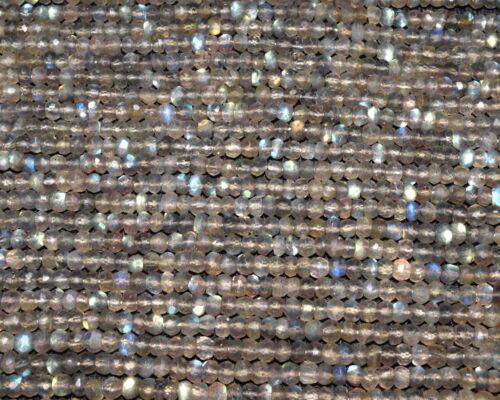 Labradorite MoonStone Natural Gemstone Rondelle Faceted Loose Bead 4mm Wholesale