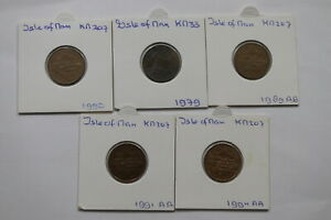 ISLE-OF-MAN-PENNY-039-S-5-COINS-LOT-A99-BX10-33