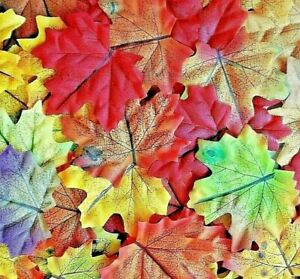20-Fall-Autumn-3-5-034-Hand-Stained-Silk-ART-Maple-Artificial-Leaves-Unique-USA