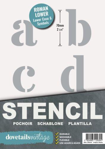"""2.75/"""" 6x Hojas Moderno minúsculas Letras del Alfabeto Stencil//símbolos 70 mm de alto"""