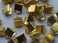 90pcs End Caps Crimp Beads Findings Gold Plated 8x8mm Dyi Jewelry Making