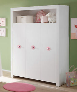 Baby Schrank Kleiderschrank weiß 3-türig rosa Kinderzimmer Möbel GS ...