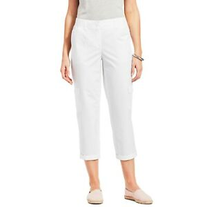 New TALBOTS Womens 6 White Poplin Relaxed Crop Pants Roll Hem Cargo Pocket nwt