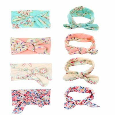 4x Blumen Bowknot Baby Stirnband Mädchen Haarbänder Zubehör Kinder Headwear DE