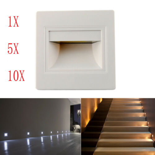 1//3//5//10 X  LED Footlight Wall Recessed Stair Light Hall Corner Step Indoor Lamp