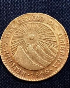 Central-American-Republic-1846-NGA-2-Gold-Escudo-AU-CANTELOUPE-amp-KUMQUAT-TONES
