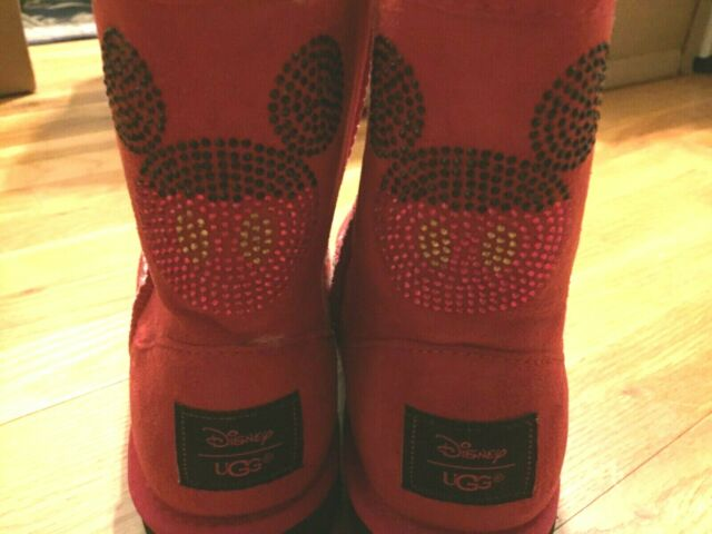 7e7e6b82e2b UGG Australia DISNEY CLASSIC SHORT MICKEY CRYSTAL RED SUEDE BOOTS SIZE 4US