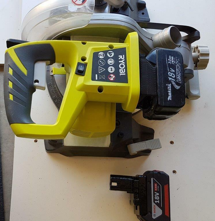Makita, Bosch Blau, Dewalt, Milwaukee M18 or Wurth ADAPTER to Ryobi one+18v