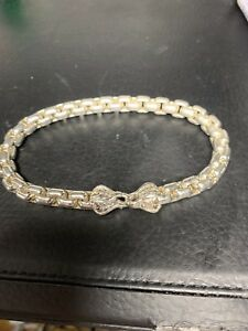 "fd0b96c8891a7 Details about David Yurman Extra large BOX CHAIN Bracelet 9 1/8 "" LongFully  Hallmark"