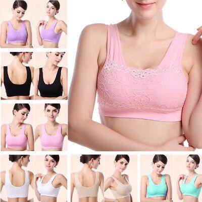 Women Lady Yoga Sports Bra Padded Seamless Lace Racerback Stretch Crop Top Vest