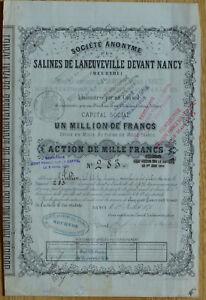 Sté Anonyme des Salines de Laneuveville devant Nancy - 1000 F 1870 - N° 283 kiZRagxN-09154718-650913405