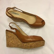 LK BENNETT cork wedges heels 40 UK 7 cognac brown leather peeptoe espadrilles