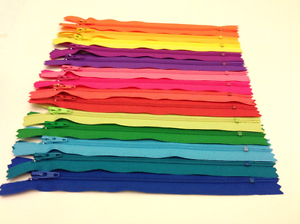 100 YKK Nylon Zippers 12 Inches Coil #3 Closed Bottom Assorted Colors
