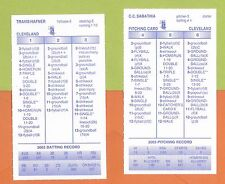 Cleveland Indians~ 2003 Strat-O-Matic Baseball ~34 Cards~Previously Played Cards