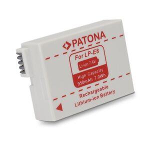 Batteria Patona Lpe8 Lp-e8 950 Mah Per Canon Eos 550 Canon Eos 600d