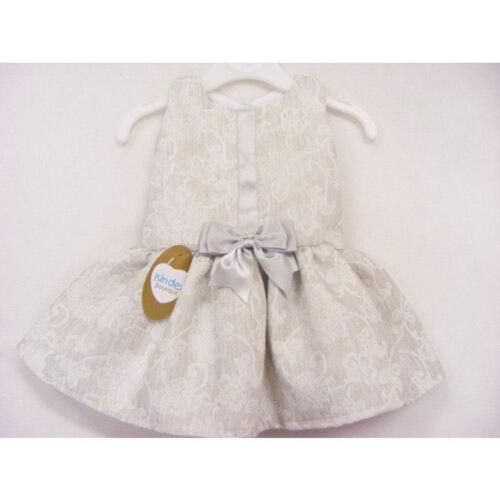 KINDER Boutique Stile Spagnolo Grigio Pallido Broccato dropwaist Dress