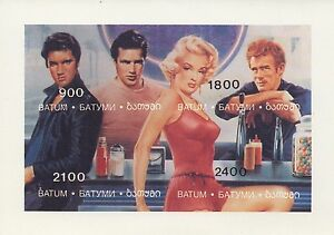 ELVIS-PRESLEY-BRANDO-MONROE-JAMES-DEAN-IMPERF-MINIATURE-MNH-STAMP-SHEETLET