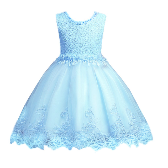 287a2db7b0b Flower Girls Floral-embroidered Pearl Embellished Sky Blue Evening ...