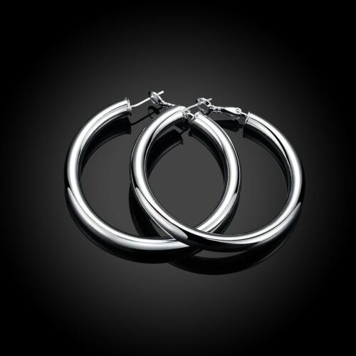 Sterling Large Round Hoop tubulaire Léger Boucles D/'oreilles