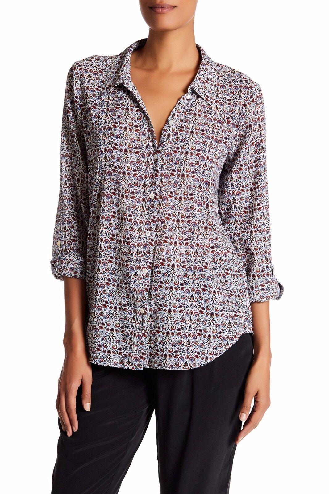 NWT  Joie Katrine  Printed Long Sleeves Blouse Cotton Shirt Größe Medium M