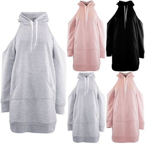 Womens Ladies Oversized Baggy Cold Cut Out Shoulder Hooded Long Sweatshirt Dress